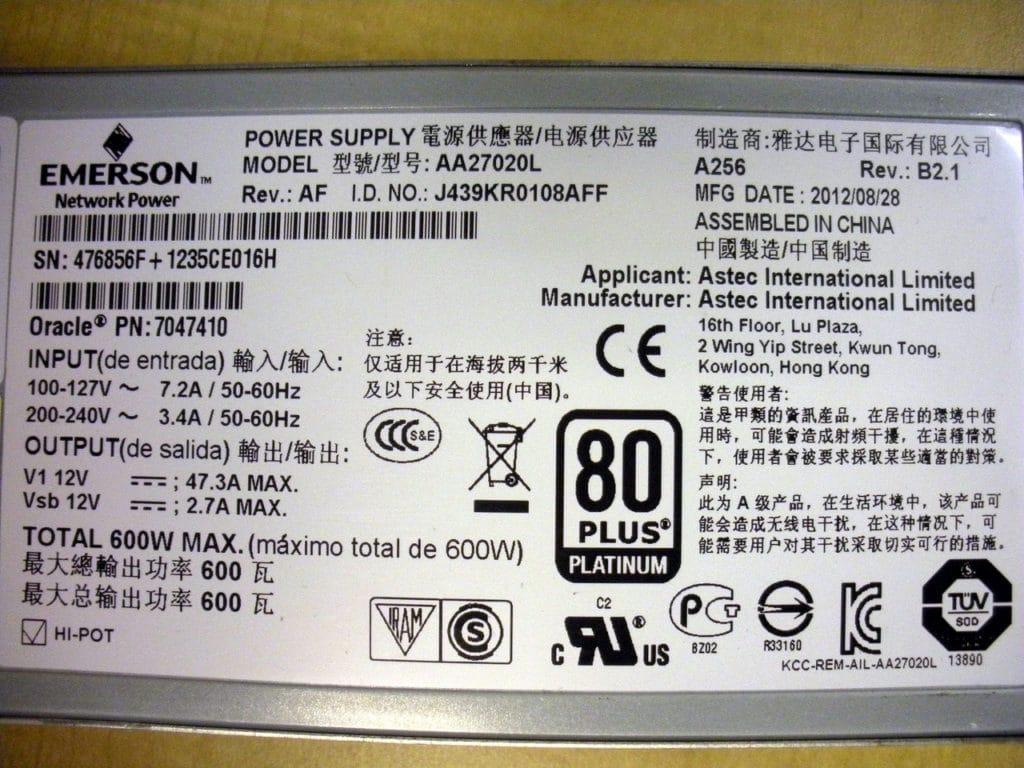 Sun Oracle A256 600 Watt AC Input Power Supply 7047410 7038476 7060951